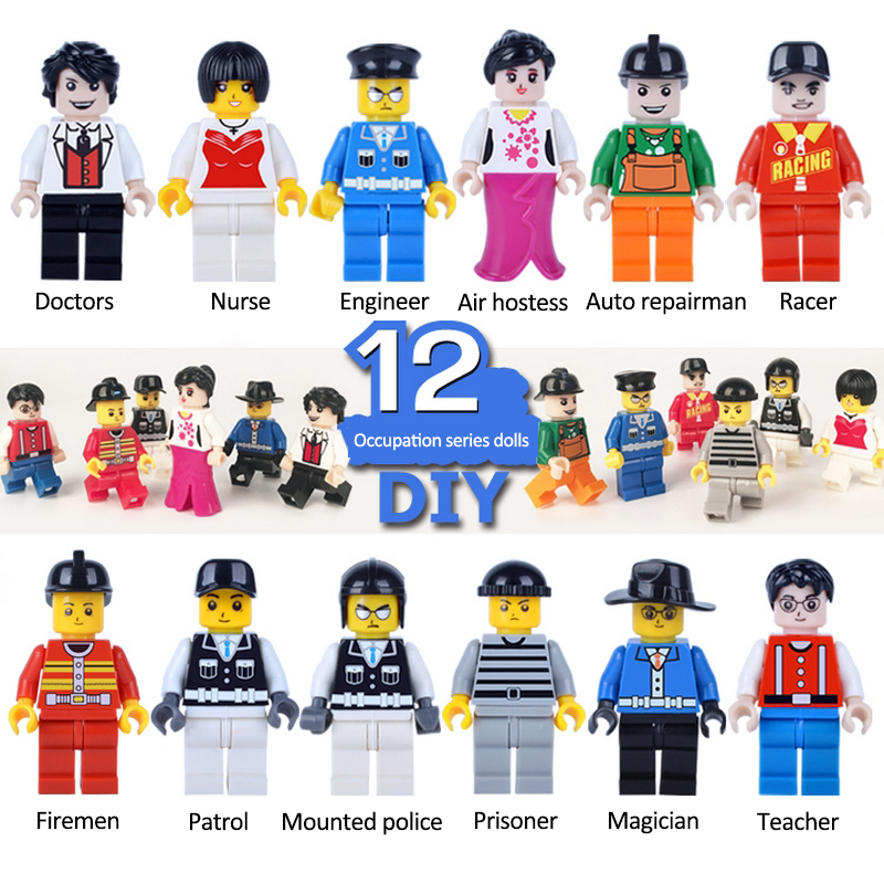 12pcs/lot Cartoon Occupation Dolls Action &amp; Toy Figures Model For Child Gift Minecraft Minifigures Game Juguetes Toys<br><br>Aliexpress