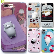 Squishy Phone Case for iPhone 6 6S 6 plus 3D Cute Soft 3D Cartoon Silicone Panda Pappy Cat for iPhone 7 7 plus Kitty Cover Coque