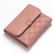 Geometric pattern embossed Short women wallet Litchi Grain leather bifold hasp Small female purse student coin card pocket