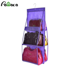 6 Pockets Hanging Storage Bag Organizer Container Bags Dust-proof Foldable Purse Bag Tidy Organizer for Wardrobe Closet Hanger