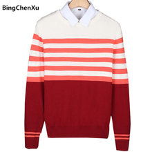 striped sweater mens slim fit sweater wool 2018 casual pullover men classic christmas sweaters for men - Classic Christmas Sweaters