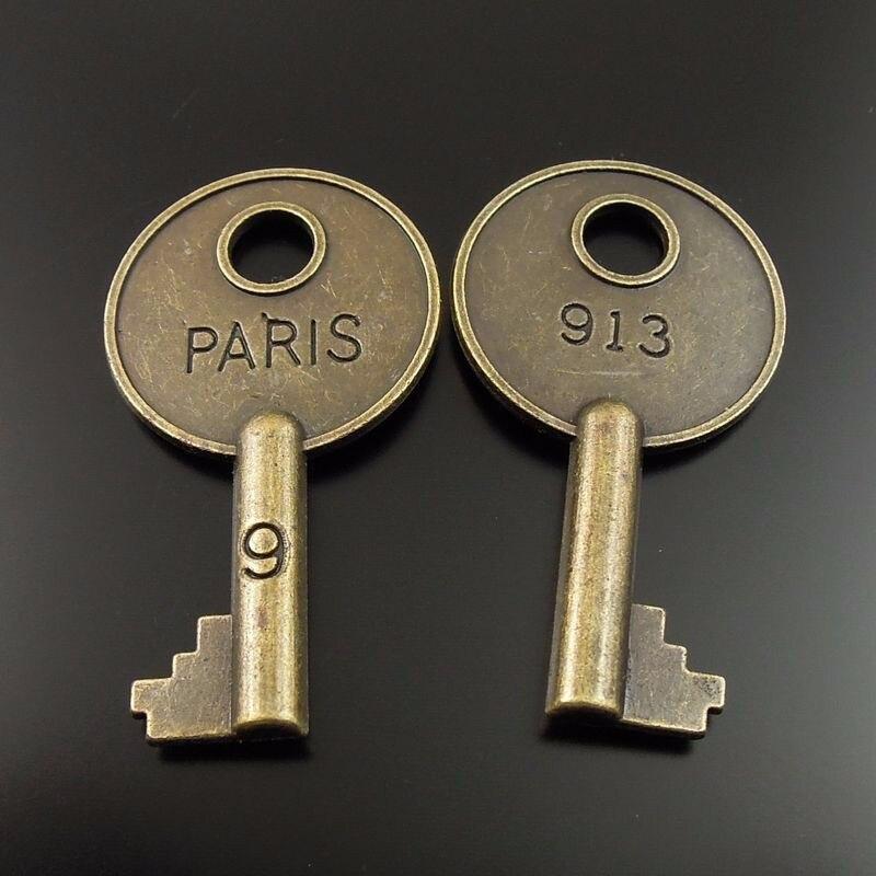 20pcs Vintage Bronze Key PARIS 40*22*4mm Pendant Charm Jewelry Findings 35532