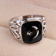 No min order, one piece popular zinc alloy men's US8/8.5/9/10 size hollow-out  black enamel Turkey flag ring xydr187