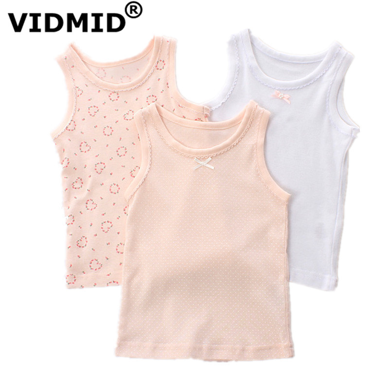 VIDMID baby girls sleeveless clothes kids cartoon hearts t-shirt tops cotton tanks vests for 1-7 years children girl tanks 4003