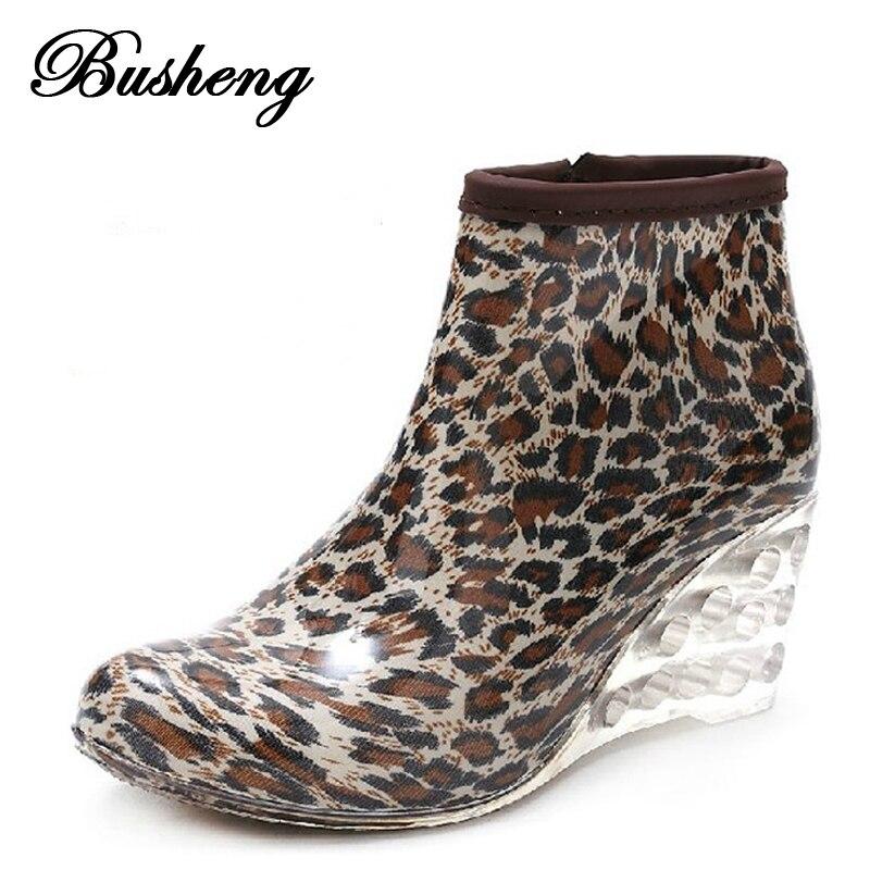 Women Rain Boots Wedge High Heel Rainboots Ankle Botines Mujer Waterproof Rubber Boots Wellies Femininas Botas Water Shoes 2015<br><br>Aliexpress