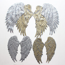 3 pairs/lot Gold Silvery Sequins Patch DIY Angel Wings Iron-On For Clothes Garment Applique DIY Accessory