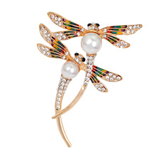 Vintage Design Shinny Simulation Crystal Rhinestone Dragonfly Brooches for Women Dress Scarf  Pins Jewelry Accessories Gift