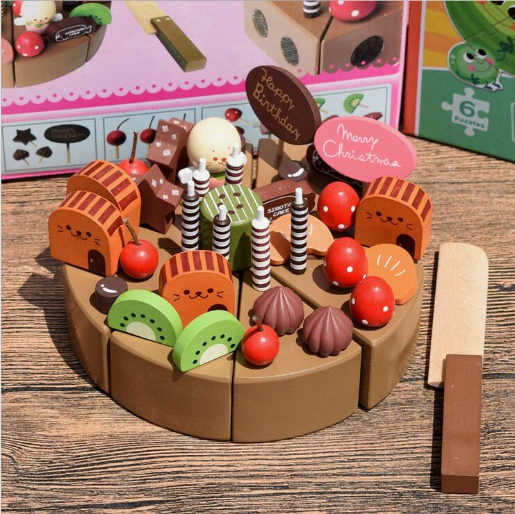 Baby Toys Simulation Wooden Cake Montessori Wooden Blocks Toy Educational Learning Kid Birthday Gift Baby Gift Blocks