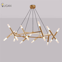 LICAN Gold painted Pendant Lights Suspender Hanging Metal Light fixtures home decor Vintage Pendant Lamp for Dining Living room