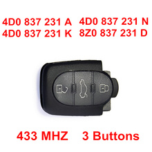3 Buttons 433MHZ Remote Key Control For Audi A2 A3 A4 A6 S6 A8 TT Quattro, Model: 8Z0 837 231 D/4D0 837 231 A/K/N