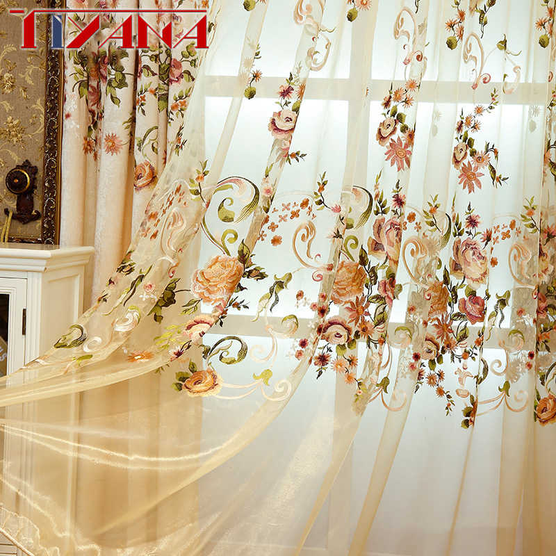 High Grade American Chenille Blackout Curtains Fabric For Living Room Embroidered Flower Voile Tulle Drapes For Bedroom AG117&3