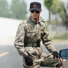 High quality fishing jacket + pants outdoor special forces jungle python pattern field training CS combat  camouflage fishing cl
