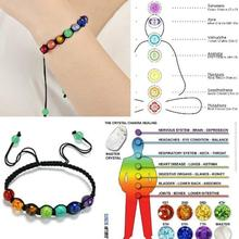 Starry-styling 7 Chakra Healing Balance Beads Energy Bracelet Lovers Casual Jewelry 13 Rainbow Natural Stone Wristlet ap26