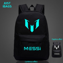 Casual backpack Men's Nylon messi Luminous printing laptop Teenagers school bags school Student backpack Women high capacity