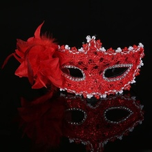 1 pcs Hot sale Sexy Venetian Lace Feather Ball Masquerade Mask Paillette Flower Party Eye Masks