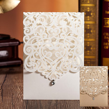 Vertical White Classic Style Engagement card / Wedding Invitation Custom With Rhinestone & Laser Cut Flower 100pcs