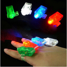 Best Birthday Gift 3500pcs/lot LED Finger Light Laser Finger Beams Ring Torch For Party,Wedding Celebration Mix Color OPP Packag(China)