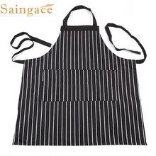 2017  My House Decor Adjustable Black Stripe Bib Apron With 2 Pockets Chef Kitchen Cook Tool  New Hot Sell 17M21