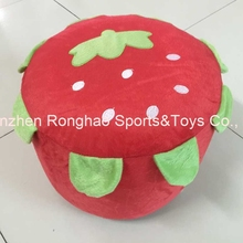 Cartoon Style Villus Inflatable Stools Pouf Chair Seat Bedroom Strawberry