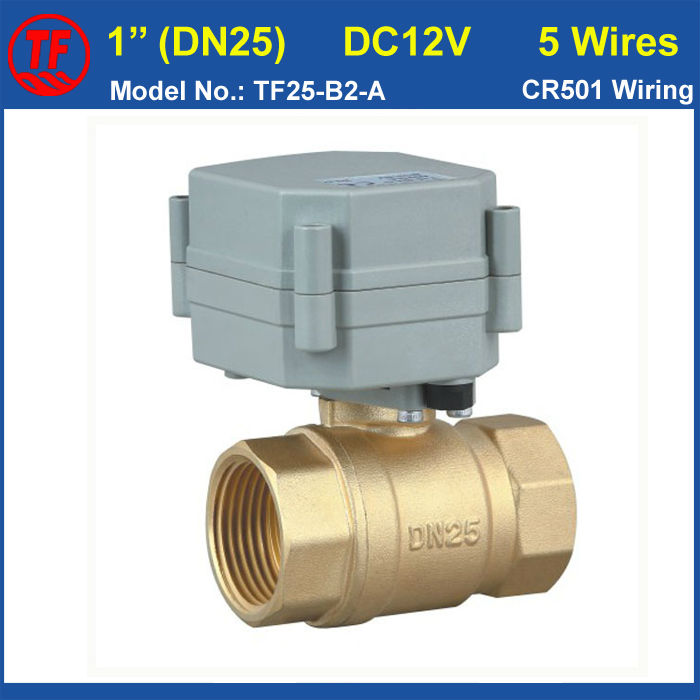 TF25-B2-A BSP/NPT 1 Brass Motor Operated Valve DC12V 5 Wires With Signal Feedback DN25 Electric Motorized Bball Vvalve<br><br>Aliexpress