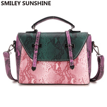 SMILEY SUNSHINE brand snake pattern leather women messenger bags fashion ladies crossbody bags luxury female tote shoulder bags(China)
