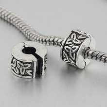 free shipping 1pc silver leaves clip heart stopper bead charm Fits European Pandora Charm Bracelets A163(2)