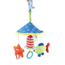 Baby Bed Stroller Hang Bell Rattles Toy Sea World Cot Mobility Plush Musical Newborn Rotating Projector Music Bracket Set Mobile