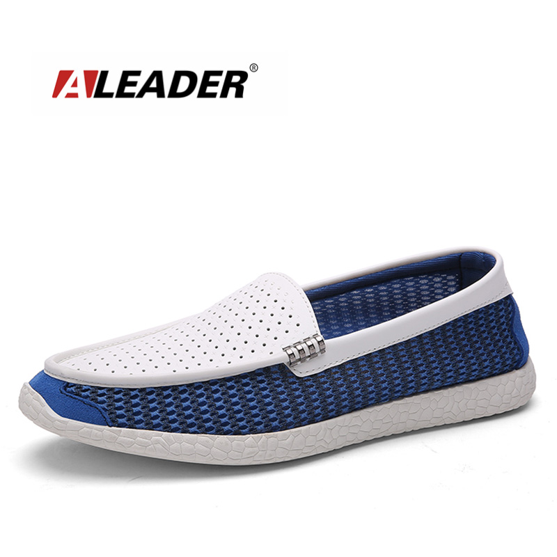 Breathable Leather&amp;Mesh Mens Loafers 2016 New Casual Spring Fashion Flat Shoes for Men HandMade Driving Shoes Men Comfort Flats<br>