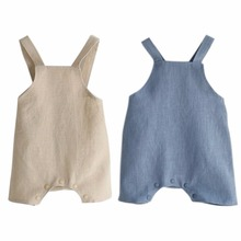2017 Summer Cotton&Linen Baby Girl Romper Solid Color Suspender Overalls Infant Boy Jumpsuit Baby Clothes M/L