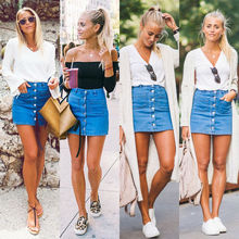 2017 Fashion Women Denim High Waist Skirt Summer Stylish Ladies Bodycon Bandage Stretchy Pencil Short Mini Skirt Sweet Vestidos