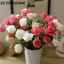 FLYDREAM New Arrive Wreath Material Scrapbooking Artificial Flower Silk Rose Petals Fake Leaves Table Decoration Party Supplies(China)