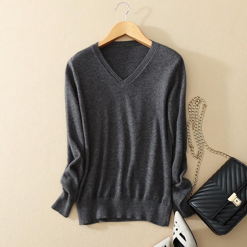 Cashmere Sweater V Neck Women Fashion Autumn Pullovers Knit Cashmere Sweater Women Slim Knit Coat Female Blouse Winter Knitwear 11