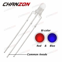CHANZON 100pcs Common Anode 3mm LED Diode Light Red And Blue Diffused Round Bicolor 3Pin 3 mm Dual Color Light-Emitting Diode
