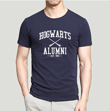 Hot sale brand clothing Inspired Magic Hogwarts Alumni printed men t shirt 2016 summer casual comfortable 100% cotton top tees(China)
