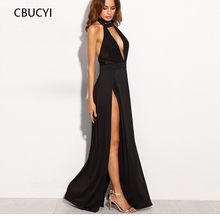 CBUCYI  Long Maxi Dress Women Maxi Dress Sexy Party Dress Womens Clothing Black Halter Backless Cut Out Slit Dress