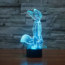 Cute Animal Deign Fox Night Light crazy animal Anime city 3D Illusion Lamp Colorful Christmas Light Best Children Gift