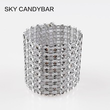 "SKY CANDYBAR 50Pcs Rhinestone Bow Covers Velcro 1.5"" 8 Row silver wedding chair sash napkin rings"