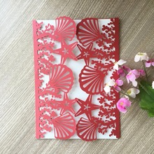 50pcs/lot Beach wedding invitations Shell and Sea Star Wedding cards 2018 new style wedding invitation card 24 colors for you(China)