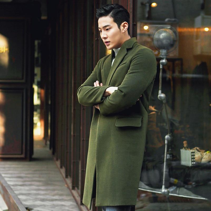 Medium Long Winter Wool Coat Men Jacket Overcoat New Turn-down Collar Cashmere Coat Men Brand-Clothing Black Men's Coats WUJ1142