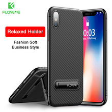 FLOVEME Kickstand Phone Case For iPhone 7 6S 8 Plus X Luxury Mobile Phone Bag Case Soft Silicon Cover For iPhone 7 6S 8 X Case(China)