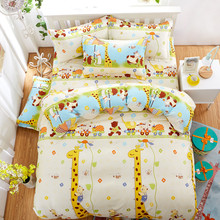 Kids Like Cartoon Cotton giraffe Printed Bedding Sets  super king Size Bed Sheet Duvet Cover Set pillowcases Home Textiles