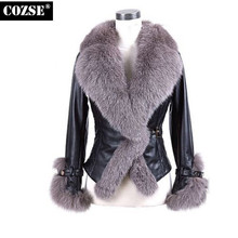 Leather Jackets Women 2016 Women's Winter Leather Jacket With Fur Collar New Fashion Black Jacket Suede plus size Coat H8350