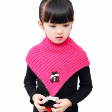 LIHFSI 2017 Autumn Winter Warm Girls Scarf Solid Color Kids Neck Collar Cute Bear Knitting Woolen Children Girls O ring Scarf(China)