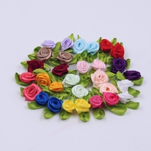 500pcs/lot Mini Artificial Silk Rose Rose Bowknot Hairpin Accessories DIY Flower Circle Wedding Decoration Artificial Rose
