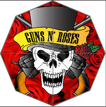 Free Shipping Famous Band Guns and Rose Skull 3 Fold Umbrellas Suprised Gift For Birthday Friend