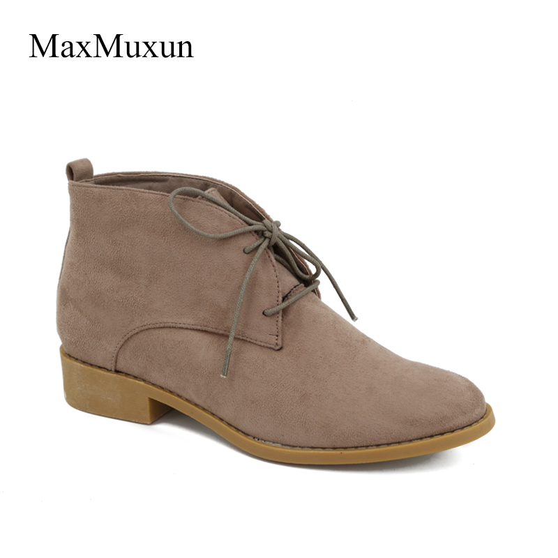 MaxMuxun Women Autumn Winter Rubber Ankle Boots Lace up Round Toe Falt Heels Classic Black Grey Faux Suede Shoes Female Footwear<br>