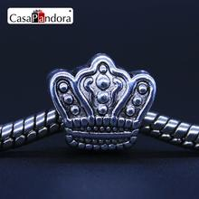 CasaPandora Fashion European Silver-colored King Queen Crown Fit Bracelet Charm DIY Jewelry Making