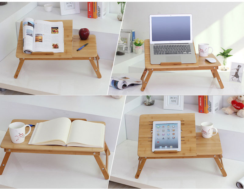 Bamboo Laptop Table Adjustable Computer Desk For Sofa Bed Folding Portable Laptop Table With Cooling Fan Notebook Stand Table 13