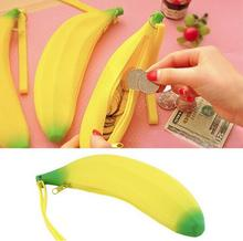 100pcs/lot  Novelty Funny Silicone Portable Yellow Banana Coin Pencil Case Unique Purse Bag Wallet Pouch Keyring