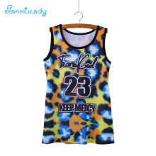 2017 new fashion feminino leopard print women tank tops europe style letters girls summer dresses top tees wholesale(China)